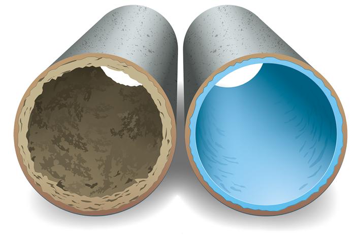 Bild på två rör, ett med avlagringar och ett med relining.